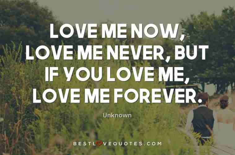 Love Me Now Love Me Never But If You Love Me Love Me Forever